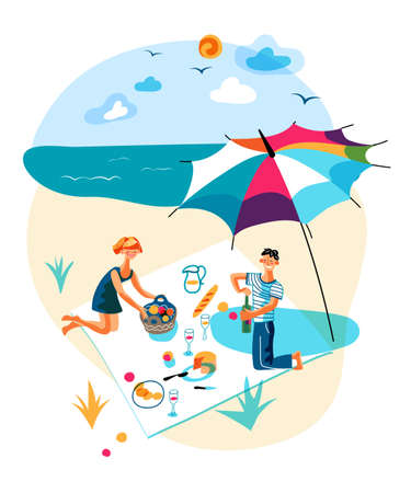 Vector man and woman rest having picnic on beach