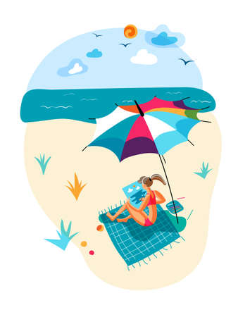 Vector woman drawing picture during rest on beach Ilustrace