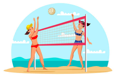 Girls playing beach volleyball flat illustration. Professional players in sportswear cartoon characters. Team training exercise, friendly competition, contest. Summer sport activity, recreation.