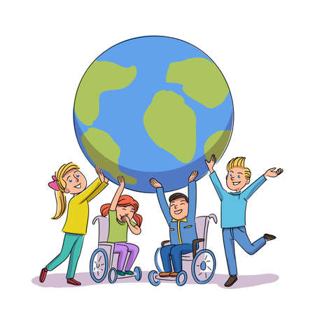 Children disability awareness day and support Ilustración de vector