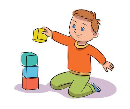 Boy playing blocks isolated on white background Ilustrace