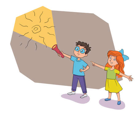 Boy girl find ancient drawing on quest room wall