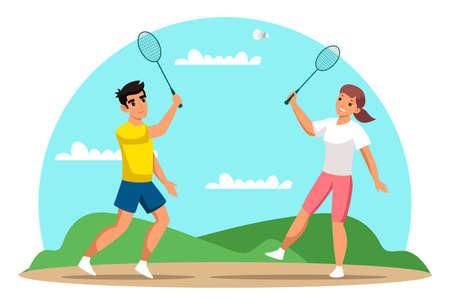 Couple playing badminton flat vector illustration