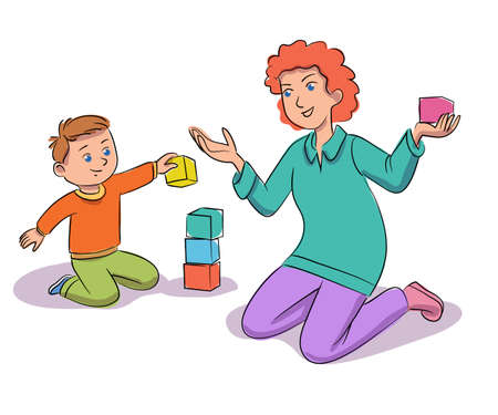 Woman playing block with kid isolated on white