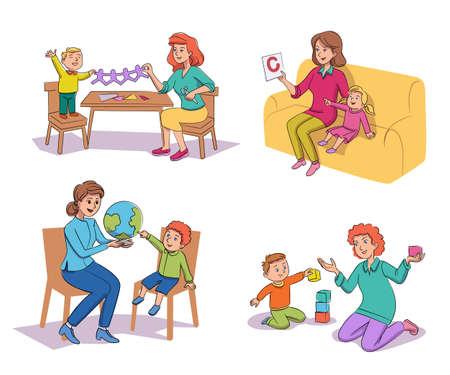 Little kids nursing babysitting teaching scene set Ilustrace