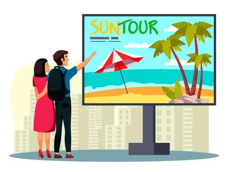Man woman looking at billboard with suntour advert