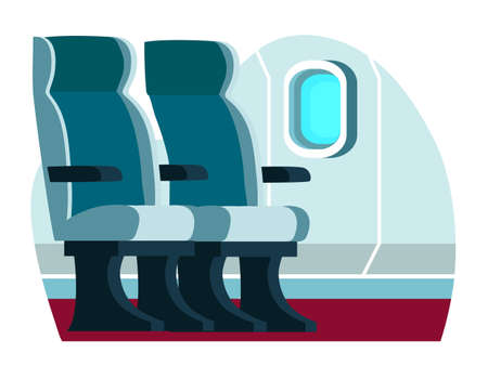 Comfort airplane cabin with passenger seat inside