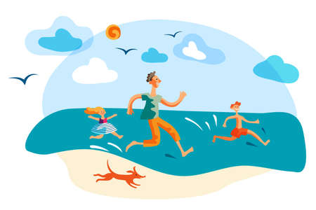 Overjoyed father and children having fun on beach Ilustrace