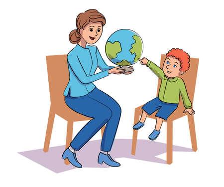 Friendly teacher demonstrating globe to children Ilustrace