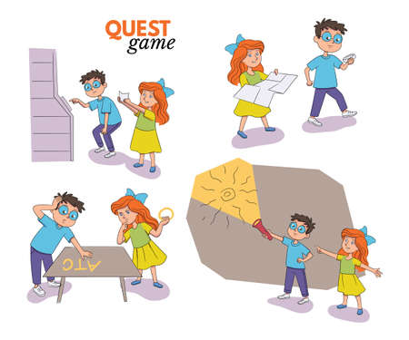 Quest game entertainment for children scene set