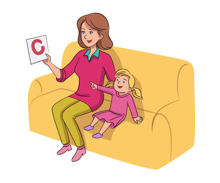Babysitter teaching child letter isolated on white