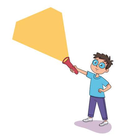 Boy with flashlight isolated on white background Illustration