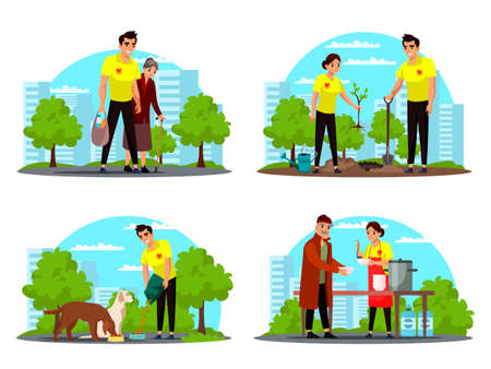 Volunteering and supporting people vector set Ilustrace