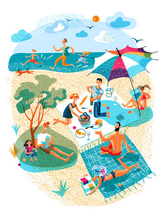 Vector people rest during picnic on beach set