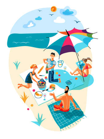 Happy vector friend rest during picnic on beach