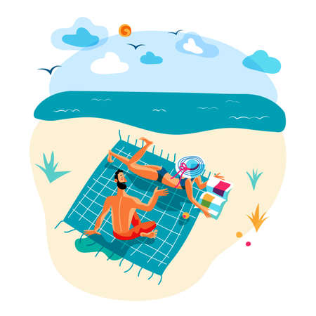 Happy vector man and woman rest on beach in summer