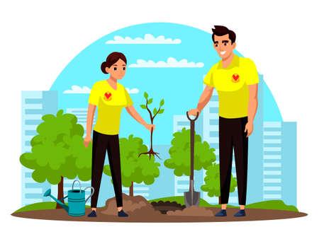 Man and woman volunteer planting tree in green park