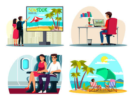Man woman choosing booking tour on vacation set Ilustrace