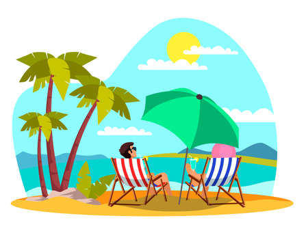 Man woman relax on beach in chess lounge on beach Illustration