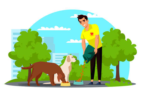 Vector man volunteer feeding homeless dog in park Ilustrace