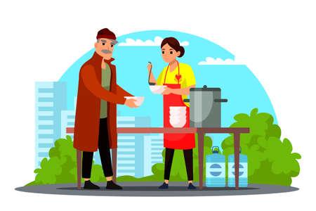 Vector woman volunteer feeding homeless person