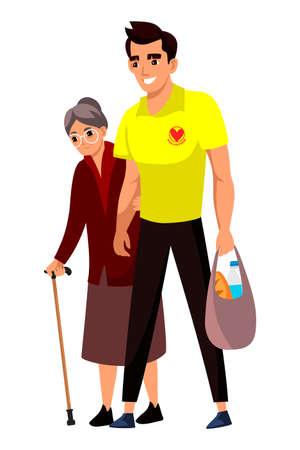 Man volunteer help senior woman with purchase