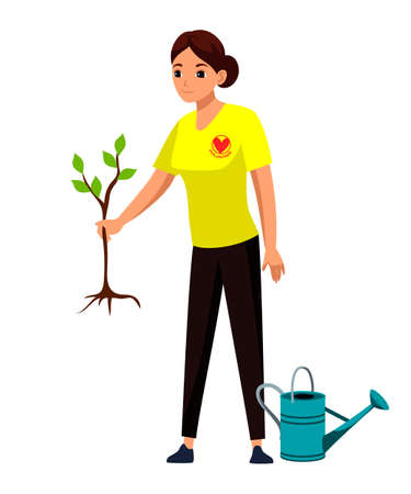 Woman volunteer planting tree. Ecological lifestyle and ecology environment. People reviving plantation of greenery in garden. Vector volunteering, social work, charity. Girl volunteer at work.