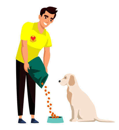 Man volunteer feeding homeless dog. Veterinary care, aid. Worker from canine shelter rescuing stray animals and pet. Charity, rehabilitation or adoption. Vector illustration.