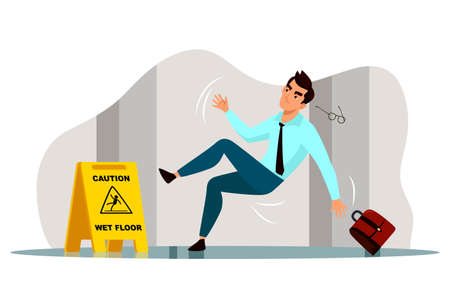 Vector businessman falling on slippery wet floor