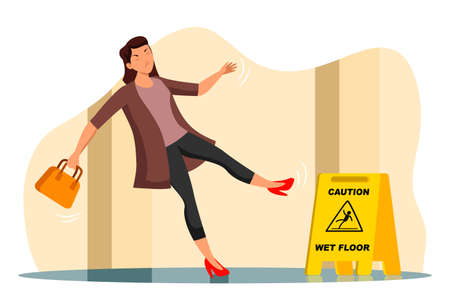 Vector woman falling on wet floor in corridor Ilustrace
