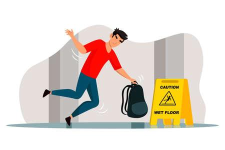 Vector slipped teenager man falling on wet floor Ilustrace