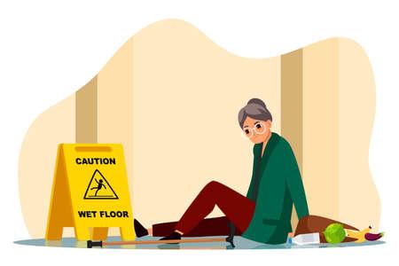 Sad mature woman fall down sitting on wet floor Ilustrace