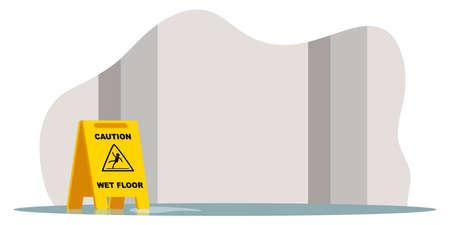 Yellow caution wet floor stop ahead warning sign 일러스트