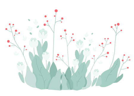Bushes of blooming flowers background