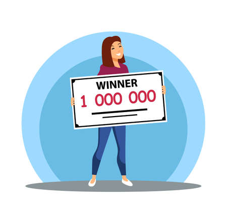 Smiling lucky woman holding million bank check, won money prize