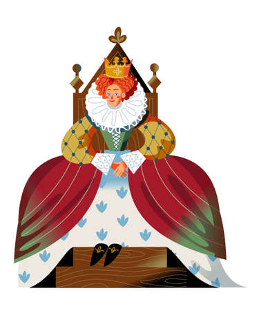 Medieval queen in dress and crown sitting on throne. Royal woman in Middle Ages vector illustration. Historical person in costume with hands together isolated on white background