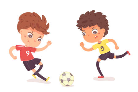 Boys playing football together. Two happy little kids playing sport in uniforms vector illustration. Smiling children kicking ball by foot between them on white background