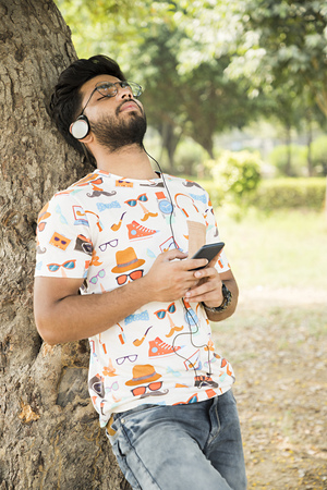 College boy in a park