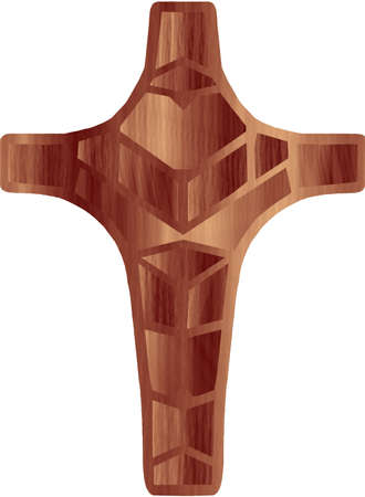 symetric:  Wood texture Christian cross Illustration