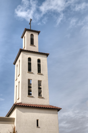 verticals: Bell tower and steeple at St. Thomas Aquinas Catholic Church in Litchfield Park (Phoenix), Arizona