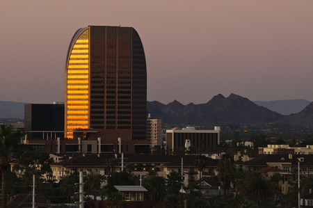 uptown: Uptown Phoenix buildings at sunset