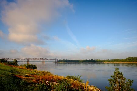 I-55 and Old Railroad Bridge Over the Mississippi River