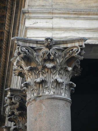 Detail of capital of corinthian column Stock Photo