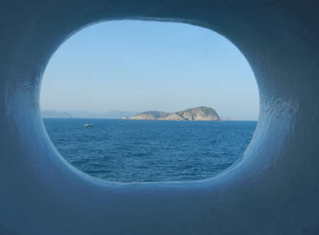 hull: View from window hole on cruise ship hull