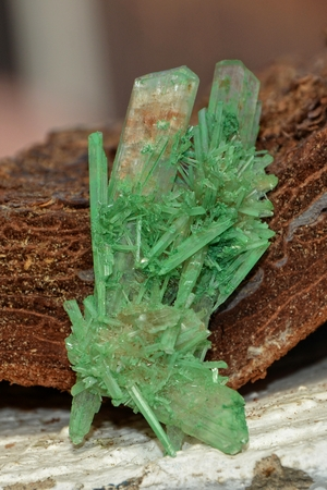 oxides: By inclusion of copper oxides green colored plaster - Crystal Stock Photo