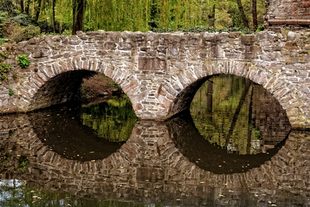 small river: old stone bridge with arch through small river
