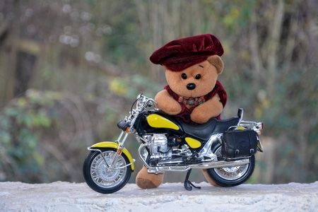 quickness: Teddy Bear with cap stands behind a motorcycle outside Stock Photo