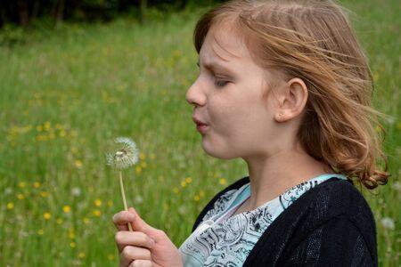 freely: Girl blows dandelion on green meadow Stock Photo