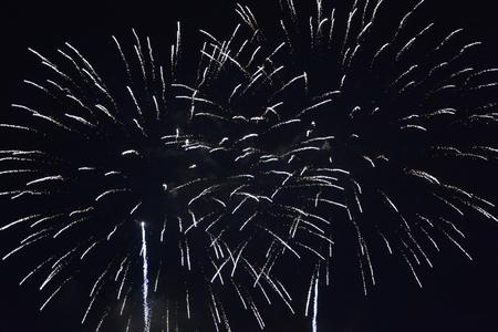 Big fireworks in the black night sky Фото со стока