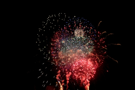 colorfully: Colored fireworks in the black night sky